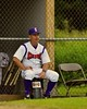 Cortland Crush Manager Bill McConnell watching the Crush play against the Syracuse Junior Chiefs on Greg's Field at Beaudry Park in Cortland, New York on Saturday June 20, 2015. Cortland won 4-1.