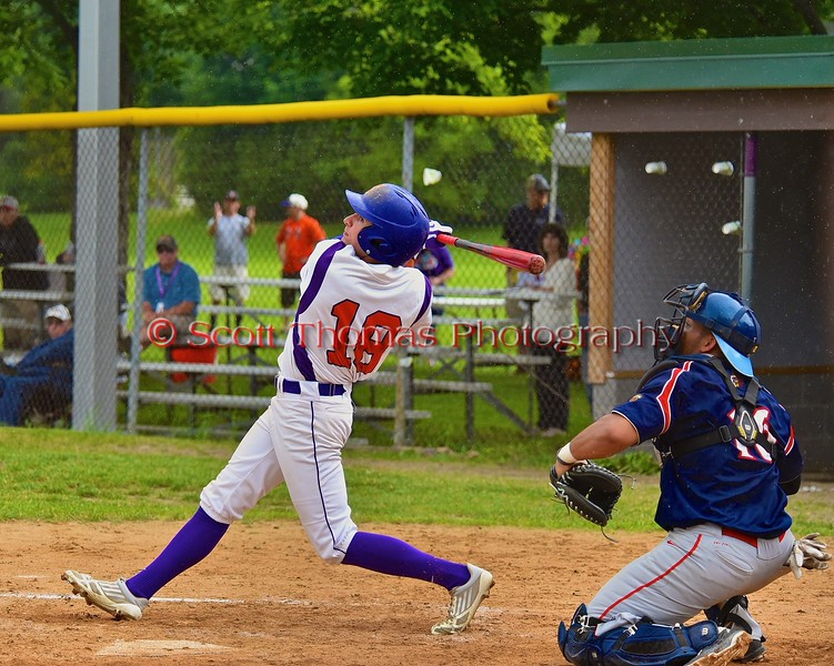 Cortland Crush Grant Hoover (18) pops up against the Syracuse Junior Chiefs on Greg's Field at Beaudry Park in Cortland, New York on Saturday June 20, 2015. Cortland won 4-1.