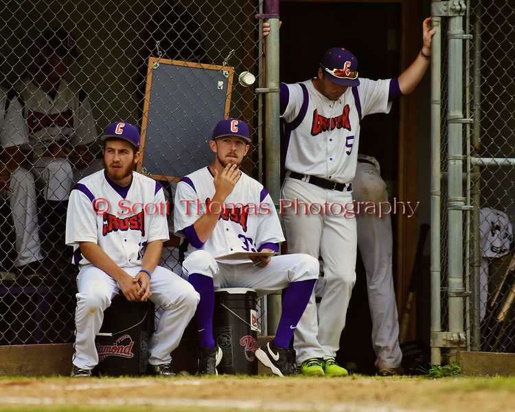 Cortland Crush players continue keeping game stats against the Syracuse Junior Chiefs on Greg's Field at Beaudry Park in Cortland, New York on Saturday June 20, 2015. Cortland won 4-1.