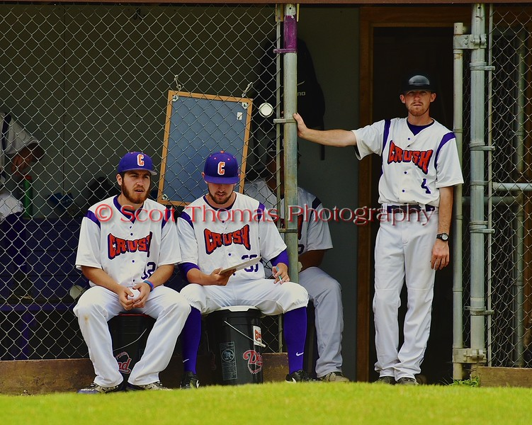 Cortland Crush players keeping stats during the game against the Syracuse Junior Chiefs on Greg's Field at Beaudry Park in Cortland, New York on Saturday June 20, 2015. Cortland won 4-1.