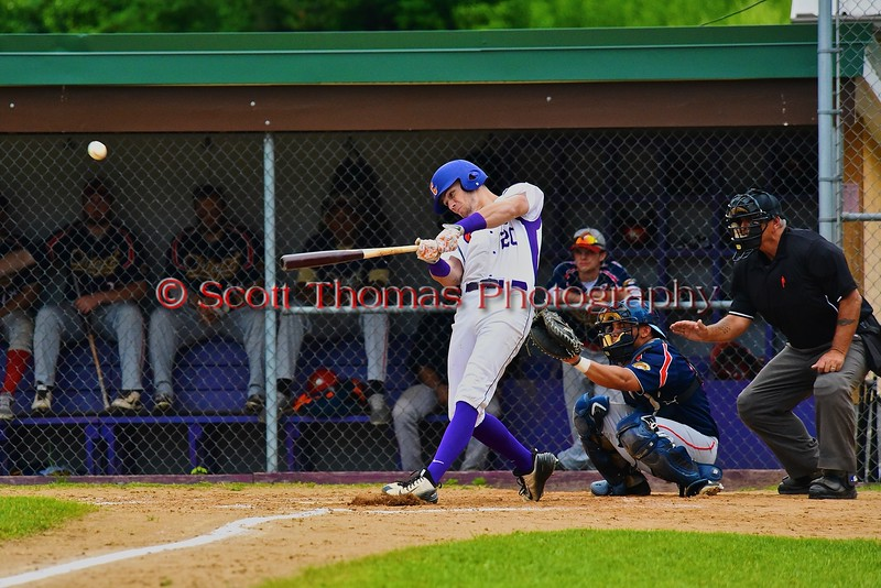Cortland Crush Chris Mattison (20) connects on a pitch against the Syracuse Junior Chiefs on Greg's Field at Beaudry Park in Cortland, New York on Saturday June 20, 2015. Cortland won 4-1.
