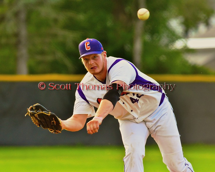 Cortland Crush Cody Barnes (42) pitching against the Oneonta Outlaws on Greg's Field at Beaudry Park in Cortland, New York on Tuesday, June 23, 2015. Oneonta won 7-5.