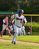 Cortland Crush Zephan Kash (25) running up the First Base line against the Oneonta Outlaws on Greg's Field at Beaudry Park in Cortland, New York on Tuesday, June 23, 2015. Oneonta won 7-5.