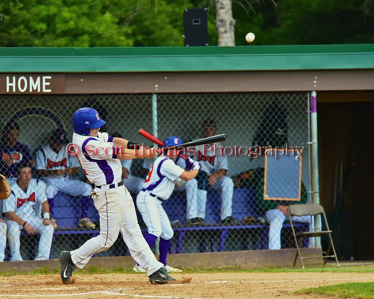 Cortland Crush Hank Pellicciotti (2) pops the ball into the outfield against the Oneonta Outlaws on Greg's Field at Beaudry Park in Cortland, New York on Tuesday, June 23, 2015. Oneonta won 7-5.