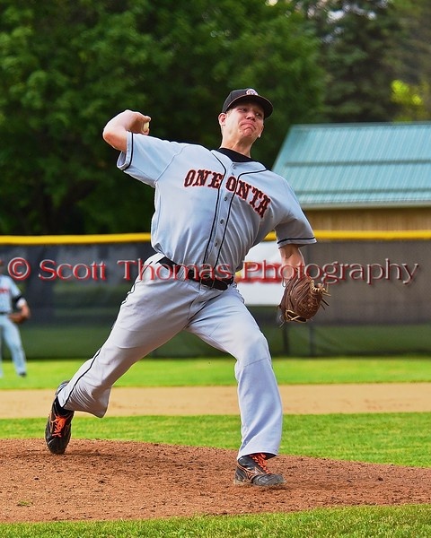 Oneonta Outlaws Luke Samson (23) pitching against the Cortland Crush on Greg's Field at Beaudry Park in Cortland, New York on Tuesday, June 23, 2015. Oneonta won 7-5.