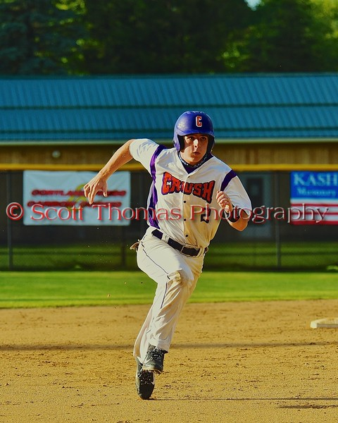 Cortland Crush Hank Pellicciotti (2) running the bases against the Oneonta Outlaws on Greg's Field at Beaudry Park in Cortland, New York on Tuesday, June 23, 2015. Oneonta won 7-5.