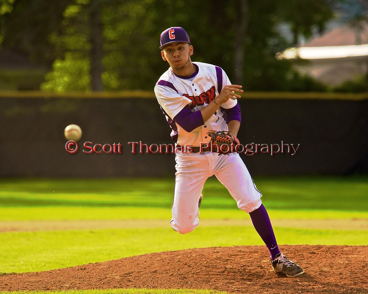 Cortland Crush Crae Watkins (1) pitching against the Geneva Red Wings on Greg's Field at Beaudry Park in Cortland, New York on Friday June 26, 2015. Geneva won 1-0.