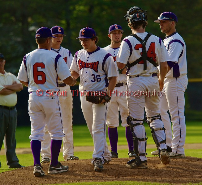Cortland Crush Shawn Brody (36) leaving the mound against the Geneva Red Wings on Greg's Field at Beaudry Park in Cortland, New York on Friday June 26, 2015. Geneva won 1-0.