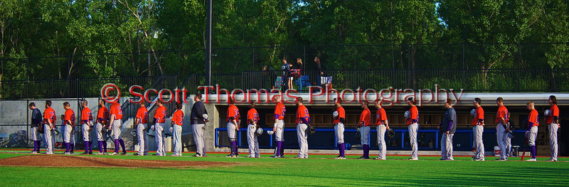 Cortland Crush lined up along the First Base line for the National Anthem before playing the Syracuse Salt Cats in Syracuse, New York on Monday, June 29, 2015. Cortland won 4-1.