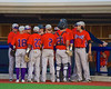 Cortland Crush huddle up between innings against the Syracuse Salt Cats in Syracuse, New York on Monday, June 29, 2015. Cortland won 4-1.