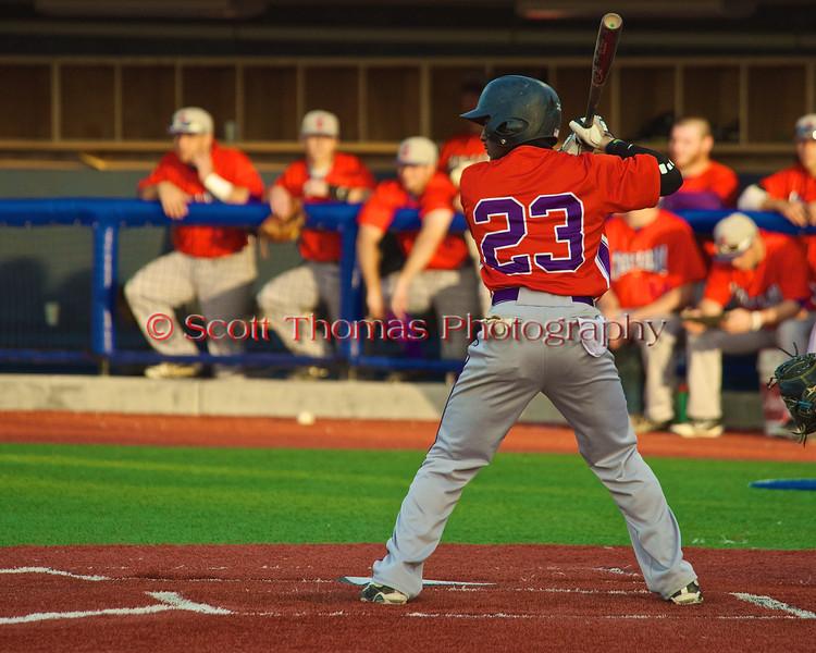 Cortland Crush Terrell Barringer (23) at bat against the Syracuse Salt Cats in Syracuse, New York on Monday, June 29, 2015. Cortland won 4-1.