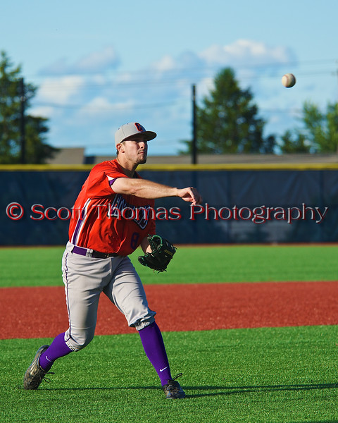 Cortland Crush Wesley Burghardt (8) warming up before playing the Syracuse Salt Cats in Syracuse, New York on Monday, June 29, 2015.