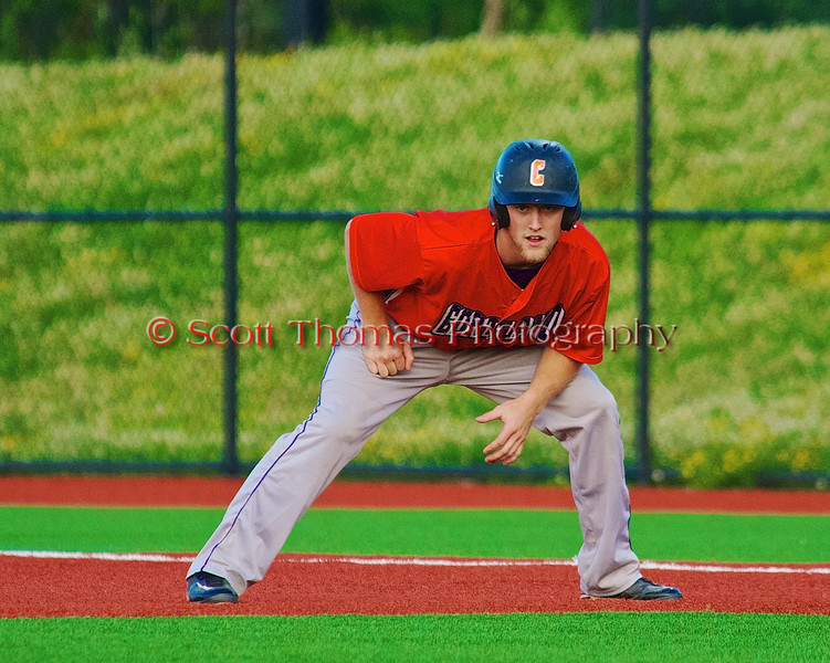 Cortland Crush Alex Loberger (21) taking a lead of First against the Syracuse Salt Cats in Syracuse, New York on Monday, June 29, 2015. Cortland won 4-1.
