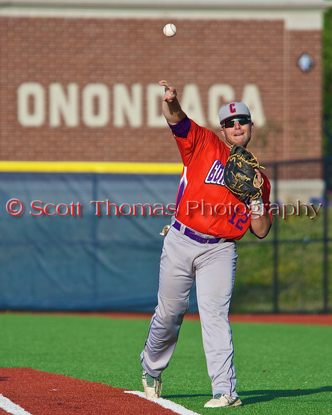 Cortland Crush Neil McCormack (12) warming up before playing the Syracuse Salt Cats in Syracuse, New York on Monday, June 29, 2015.