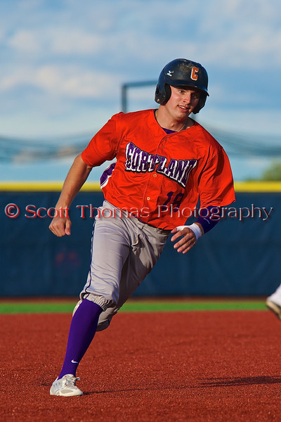 Cortland Crush Grant Hoover (18) running the bases against the Syracuse Salt Cats in Syracuse, New York on Monday, June 29, 2015. Cortland won 4-1.