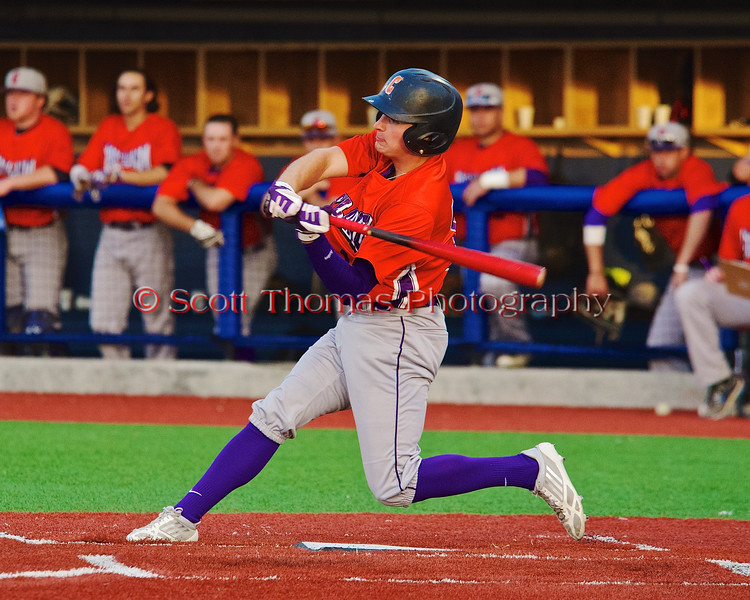 Cortland Crush Grant Hoover (18) leans into his swing against the Syracuse Salt Cats in Syracuse, New York on Monday, June 29, 2015. Cortland won 4-1.