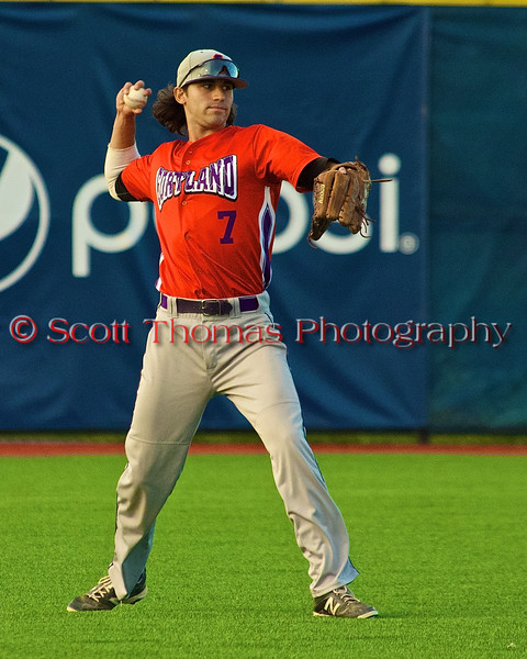 Cortland Crush Jose Arebalo (7) throwing the ball in from the outfield against the Syracuse Salt Cats in Syracuse, New York on Monday, June 29, 2015. Cortland won 4-1.