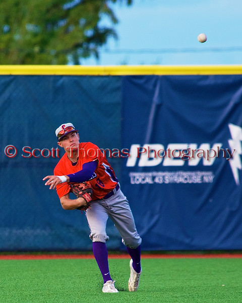 Cortland Crush Grant Hoover (18) throws the ball in from the outfield against the Syracuse Salt Cats in Syracuse, New York on Monday, June 29, 2015. Cortland won 4-1.