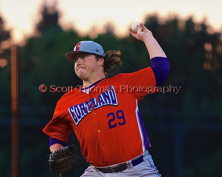 Cortland Crush TJ Peterson (29) pitching against the Syracuse Salt Cats in Syracuse, New York on Monday, June 29, 2015. Cortland won 4-1.