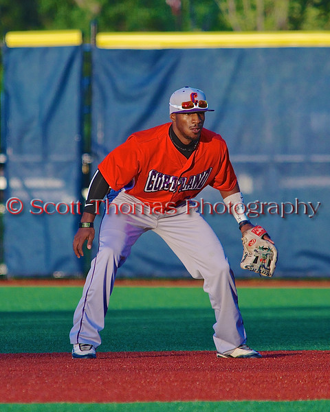 Cortland Crush Terrell Barringer (23) playing Second Base against the Syracuse Salt Cats in Syracuse, New York on Monday, June 29, 2015. Cortland won 4-1.