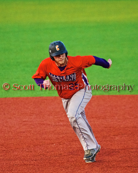 Cortland Crush Zephan Kash (25) running the bases against the Syracuse Salt Cats in Syracuse, New York on Monday, June 29, 2015. Cortland won 4-1.