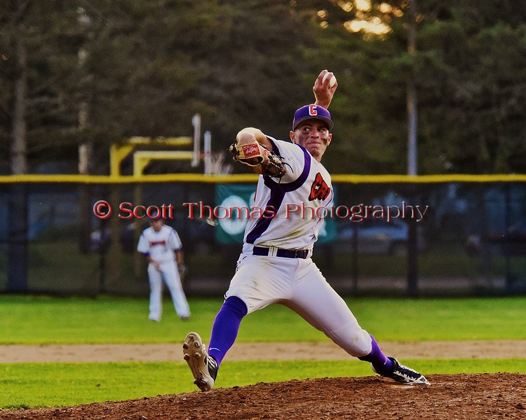 Cortland Crush Grant Hoover (18) pitching against the Sherrill Silversmiths on Greg's Field at Beaudry Park in Cortland, New York on Friday, July 10, 2015. Cortland won 8-7.