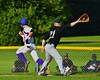 Cortland Crush Julian Gallup (9) beats out the throw to First against the Sherrill Silversmiths on Greg's Field at Beaudry Park in Cortland, New York on Friday, July 10, 2015. Cortland won 8-7.