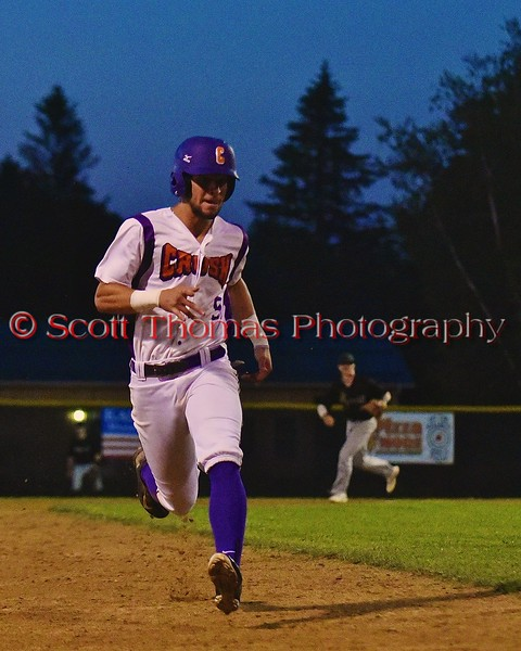 Cortland Crush Julian Gallup (9) base running against the Sherrill Silversmiths on Greg's Field at Beaudry Park in Cortland, New York on Friday, July 10, 2015. Cortland won 8-7.
