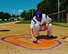 "Cortland Crush Nate Verst (32) spray paints the Crush ""C"" on the field before the game against the Sherrill Silversmiths on Greg's Field at Beaudry Park in Cortland, New York on Saturday, July 11, 2015."
