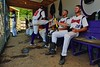 Cortland Crush Yale Brian Hughes (28) hangs out in the Dugout during a game against the Sherrill Silversmiths on Greg's Field at Beaudry Park in Cortland, New York on Saturday, July 11, 2015. Cortland won 3-2.
