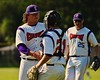 Cortland Crush TJ Peterson (29) gets congratulated by Alex Loberger (21) after Peterson got the save against the Sherrill Silversmiths on Greg's Field at Beaudry Park in Cortland, New York on Saturday, July 11, 2015. Cortland won 3-2.