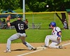 The ball gets away from Sherrill Silversmiths Luke Johnson (16) which allows Cortland Crush Matthew Alberino (5) to score on Greg's Field at Beaudry Park in Cortland, New York on Saturday, July 11, 2015. Cortland won 3-2.