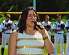 Cortland Crush National Anthem singer on Greg's Field at Beaudry Park in Cortland, New York on Saturday, July 11, 2015.