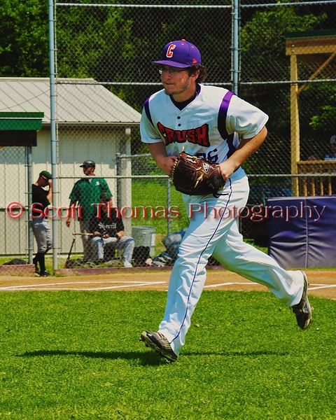 Cortland Crush starting pitcher Shawn Brody (36) takes the field before playing the Sherrill Silversmiths on Greg's Field at Beaudry Park in Cortland, New York on Saturday, July 11, 2015.