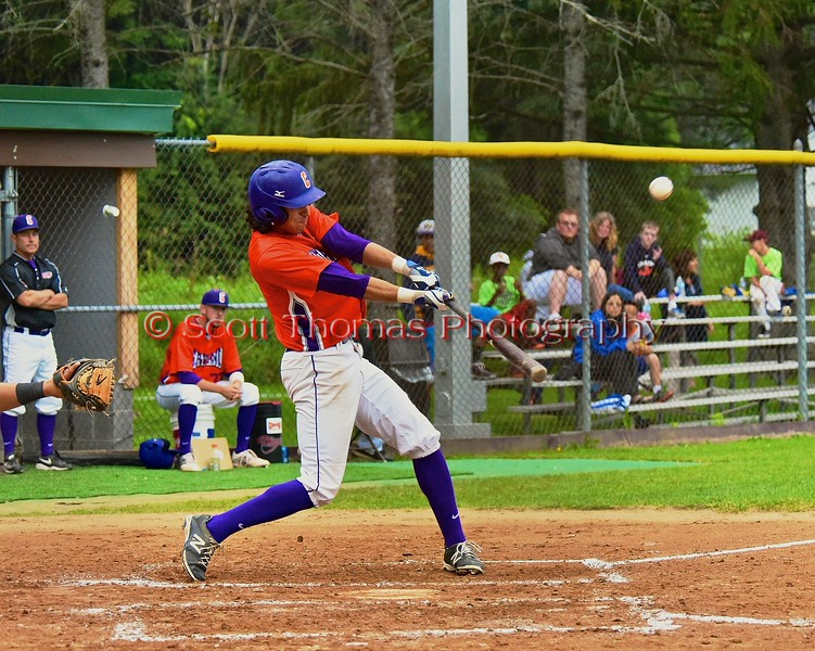Cortland Crush Jose Arebalo (7) gets a hit against the Sherrill Silversmiths on Greg's Field at Beaudry Park in Cortland, New York on Saturday, July 17, 2015. Cortland won 5-0.
