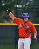 Cortland Crush Zephan Kash (25) acknowledges his teammates and fans after hitting an RBI double against the Sherrill Silversmiths on Greg's Field at Beaudry Park in Cortland, New York on Saturday, July 17, 2015. Cortland won 5-0.