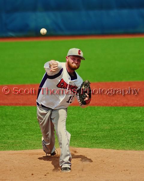 Cortland Crush Ben Barnes (19) pitching against the Syracuse Salt Cats in Syracuse, New York on Saturday, July 18, 2015. Cortland won 5-2.