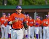 Cortland Crush Luke Gilbert (27) being introduced before playing the Syracuse Salt Cats on Greg's Field at Beaudry Park in Cortland, New York on Monday, July 20, 2015.