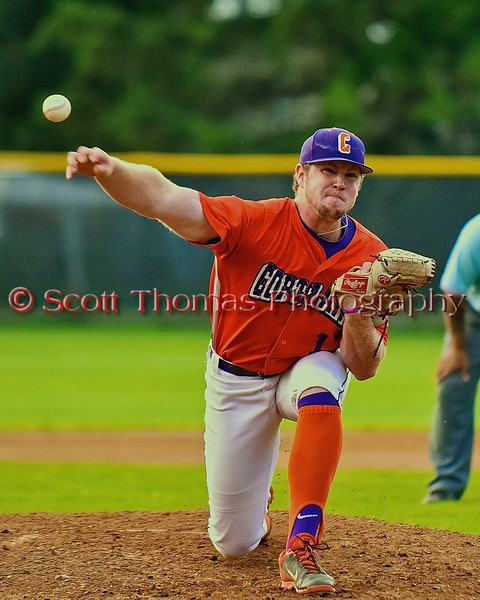 Cortland Crush Joseph Jones (17) pitching against the Syracuse Salt Cats on Greg's Field at Beaudry Park in Cortland, New York on Monday, July 20, 2015. Cortland won 3-2.