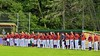 Cortland Crush players lined up on the Third Base line for the National Anthem before playing the Syracuse Salt Cats on Greg's Field at Beaudry Park in Cortland, New York on Monday, July 20, 2015.