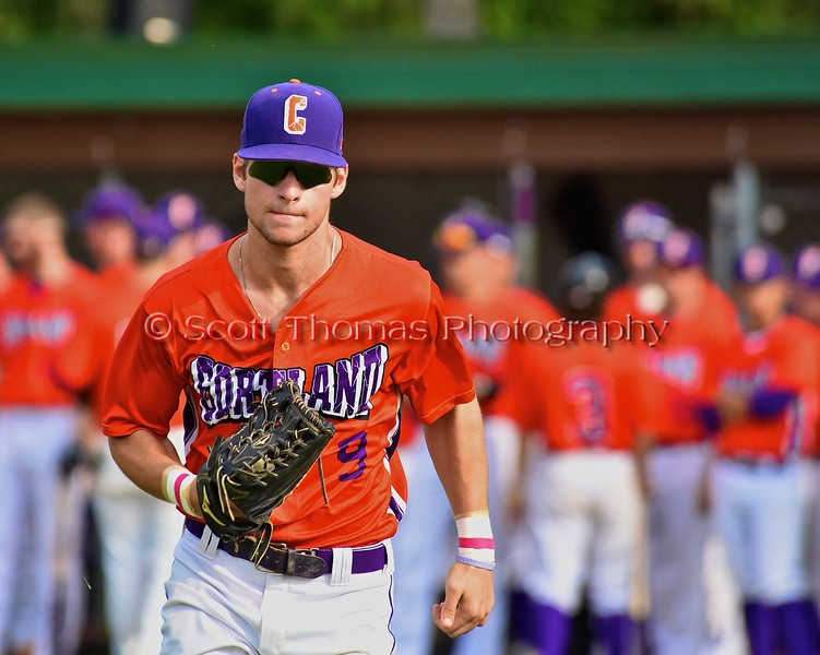 Cortland Crush Julian Gallup (9) being introduced before playing the Syracuse Salt Cats on Greg's Field at Beaudry Park in Cortland, New York on Monday, July 20, 2015.