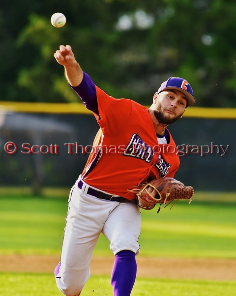 Cortland Crush Chris Rupprecht (10) pitching against the Syracuse Salt Cats on Greg's Field at Beaudry Park in Cortland, New York on Monday, July 20, 2015. Cortland won 3-2.