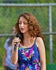 National Anthem singer performing at the Cortland Crush and Syracuse Salt Cats game on Greg's Field at Beaudry Park in Cortland, New York on Monday, July 20, 2015.