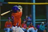 Cortland Crush Wesley Burghardt (8) follows through after a hit against the Syracuse Salt Cats on Greg's Field at Beaudry Park in Cortland, New York on Monday, July 20, 2015. Cortland won 3-2.