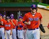 Cortland Crush Zephan Kash (25) being introduced before playing the Syracuse Salt Cats on Greg's Field at Beaudry Park in Cortland, New York on Monday, July 20, 2015.