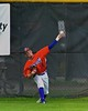 Cortland Crush Grant Hoover (18) throws the ball from the outfield against the Syracuse Salt Cats on Greg's Field at Beaudry Park in Cortland, New York on Monday, July 20, 2015. Cortland won 3-2.