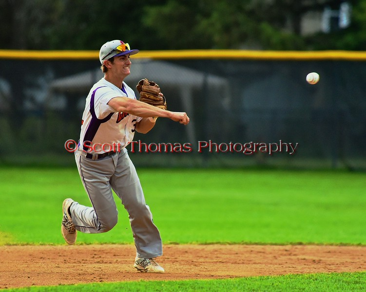 Cortland Crush Nick Panissidi (31) throwing out the Oneonta Outlaws runner at First Base on Greg's Field at Beaudry Park in Cortland, New York on Thursday, July 23, 2015. Oneonta won 7-3.