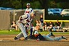 Cortland Crush Hank Pellicciotti (2) tags out the Oneonta Outlaws base runner on Greg's Field at Beaudry Park in Cortland, New York on Thursday, July 23, 2015. Oneonta won 7-3.