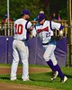 Cortland Crush Chris Rupprecht (10) greeting Luke Gilbert (27) before playing the Oneonta Outlaws in a NYCBL Playoff game on Greg's Field at Beaudry Park in Cortland, New York on Monday, July 27, 2015.