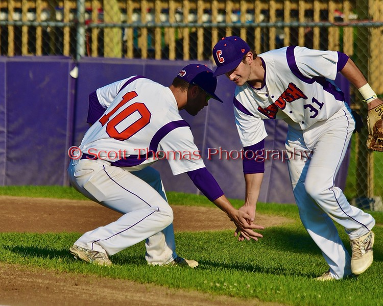 Cortland Crush Chris Rupprecht (10) greeting Nick Panissidi (31) before playing the Oneonta Outlaws in a NYCBL Playoff game on Greg's Field at Beaudry Park in Cortland, New York on Monday, July 27, 2015.
